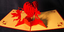 Valentine Anniversary Wedding cards, pop-up sculptures, set of 2 - free shipping