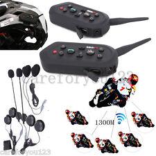 2 x E6 BT Bluetooth Motorcycle Helmet Interphone Intercom Headset 6 Riders 1300M