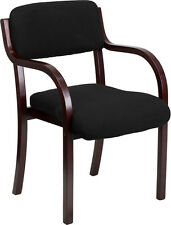 Contemporary Black Fabric Wood Side Chair w/ Mahogany Frame - Waiting Room Chair