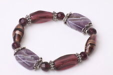 STUNNING PURPLE/VIOLET/GOLD BEADED STRETCHY BRACELET BEAUTIFUL (ZX19)