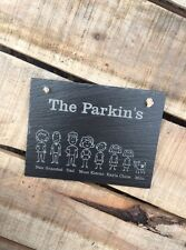 Personalised Modern Engraved Slate Wall House Stick Family Name Sign Plaque