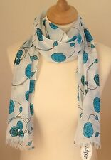 NEW 100% COTTON WOMEN'S MACKINTOSH STYLE BLUE ROSES PRINT SCARF