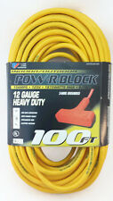 100' 12 Gauge Yellow Extension Cord w Triple Outlet - USA - MISPRINT SPECIAL
