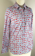 J.CREW Liberty of London Sz 00 XXS Red Blue Floral Print Popover Shirt Top 115