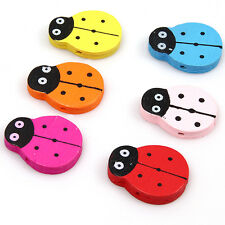 Free P&P 60 Charms Ladybug Wooden Spacer Beads 110630