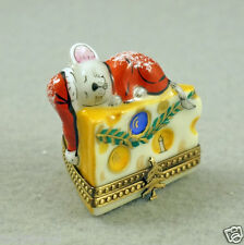NEW FRENCH LIMOGES BOX MOUSE SANTA ASLEEP ON CHEESE SLICE W CHRISTMAS ORNAMENTS