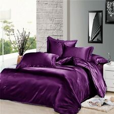 7 Piece Black Gray Brown Silky Satin Duvet Cover + Sheet Zipper Closure Set