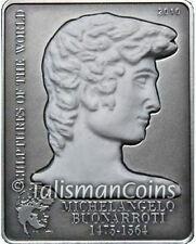 Cook Islands 2010 Michaelangelo David Statue $5 Silver Genuine Real Marble