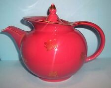 HALL 6-CUP WINDSHIELD TEAPOT 0694 ROSE W/ GOLD FLORAL ca1941+