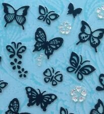 Nail Art 3D Sticker Silver Crystal Black Patterned Butterfly Flower Cat 62pcs
