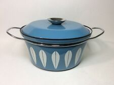 """Cathrineholm 8.5"""" Stock Pot Dutch Oven Blue With White Lotus Design From Norway"""