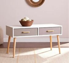 Coffee Table With Storage Drawers Retro Modern Accent Cocktail Stand Console