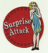 SURPRISE ATTACK Air Force Nose Art Pin Up Girl World War 2 PATCH