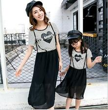 Summer Mother Daughter Dresses Girls Clothes Women Striped Dress Family Outfit