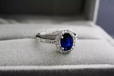 18K White Gold Plated Royal Blue Crystal Engagement Ring Size 8