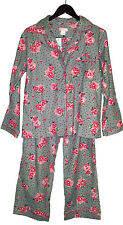 SHABBY ROSE FLORAL WOMENS PAJAMA 2 PC SET SHIRT PANTS COTTON FLANNEL PINK GRAY L