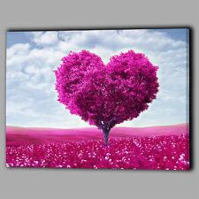 Hot pink arbres Pétales Coeur Toile Mur Art Image Cadeau feuilles paysage amour