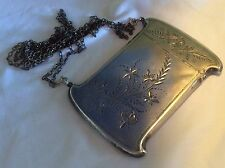 Ultimate Victorian aesthetic Engraved Sterling Silver Card Case On Chain