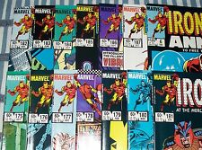Lot of 14 IRON MAN comics from #175 - 187 + Annual #6 Avengers from 1983 Up