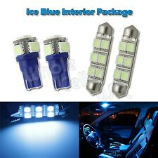 Ice Blue LED Interior Light Bulb Package Combo for Map Dome Lamp T10 Wedge +6411