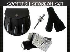 Scottish Sporran Set Containing Leather Sporran,Belt & Buckle,Kilt Pin & Socks