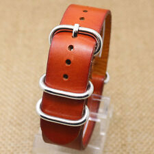 20mm Light Brown Classic Leather Wrist Watch Band Replacement Strap Pin Buckle