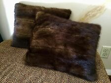 "Beautiful Genuine MINK Fur Pillows 15""x12"" (matched Pair of 2) **USA Seller**"