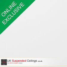 White Suspended Ceiling Tiles x8 Hygienic Vinyl Surface Square 595x595mm 600x600