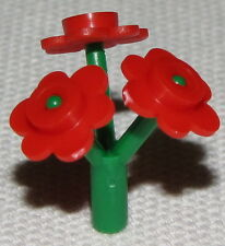 Lego New Rare Green Plant Flower Stem Bar Red Flower Can Hold in Minifigure Hand