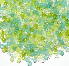 SBL1941h Spring Meadow 6/0 4mm Crystal & Green Glass Seed Bead Premium Mix 3.5oz