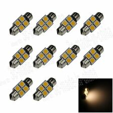10X Warm White 31MM 4 5050 Festoon Dome Map Interior LED Light Bulb DE3425 I003