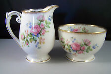 Roslyn China Made in England MOSS ROSE Cream and Sugar Beautiful