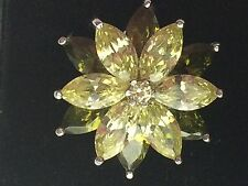 Lovely SMOKY TOPAZ & GREEN QUARTZ FLOWER Silver RING 27.44 CARATS SIZE O (7.5)