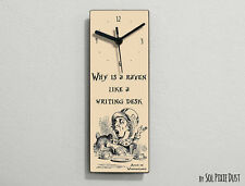 Alice in Wonderland - Mad Hatter - Why is a raven like a writing desk-Wall Clock