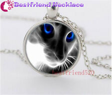 New White Cat and Blue Eye Glass silver necklace for women men Jewelry