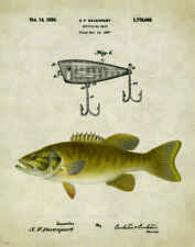 Fishing Lure Patent Poster Art Print Antique Smallmouth Bass Reels Fish PAT156
