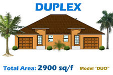 2,900 sq/ft Custom Duplex Home Plan House Blueprints COMPLETE SET in PDF NEW