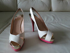 Christian Louboutin Very Croise 140 Ivory Pink Slingback Heels 37.5 7.5 7