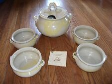 John Seibenick Signed Handcraft Pottery Soup Tureen 4 Matching Bowls NEVER USED