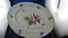 tres ancien grand plat ovale porcelaine allemande ludwigsburg decor fleur tressé