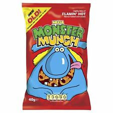 Monster Munch Mega Flamin Hot Flavour Corn Snack 40g 30 Bags Full Box