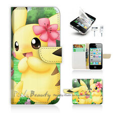 iPhone 4 4S Print Flip Wallet Case Cover! Cute Pikachu and Girl Friend P0168