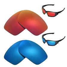 New Walleva Polarized Fire Red+Ice Blue Replacement Lenses For Oakley Scalpel