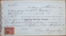 1867 Stock Certificate Document w/Stamp: 'American Shoe-Tip Co.' - New Haven, CT
