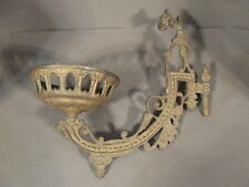 ANTIQUE CANDLE OIL LAMP HOLDER SWING ARM METAL WALL SCONCE