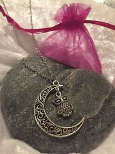 💕 Crescent Moon Wise Owl Pendant Necklace Gift Bag Christmas Stocking Filler
