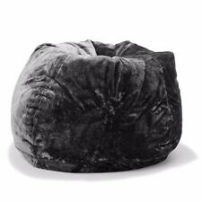 Large Oversize Tear Drop Shape Bean Bag Skin Cover Black Faux Fur 3L Capacity