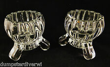 2 National Deco crystal Footed votive / Candlesticks Jeannette Glass vintage 40s