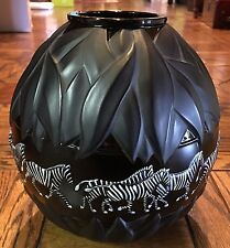 "Rare Hard to Find LALIQUE Black & White Enameled Zebra ""TANZANIA"" Vase with COA"