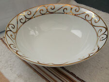 TRADE WINDS SERVIG / SALAD BOWL  IN WHITE WITH  GOLD PATTERN